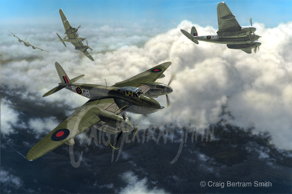 a painting of DH Mosquito planes flying over clouds