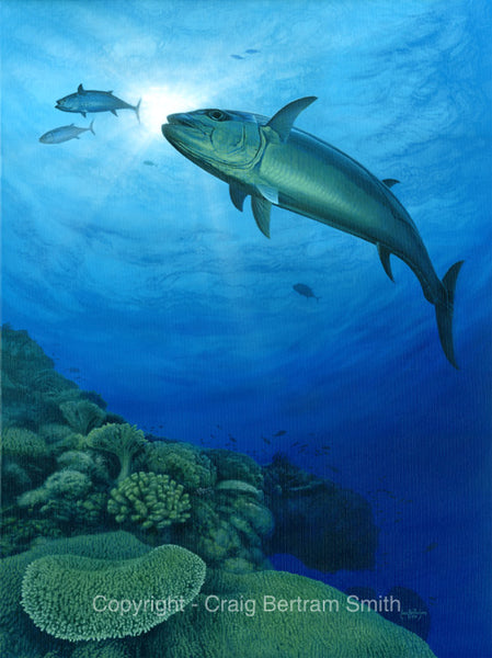 a painting of a dogtooth tuna in deep water swimming near a reef