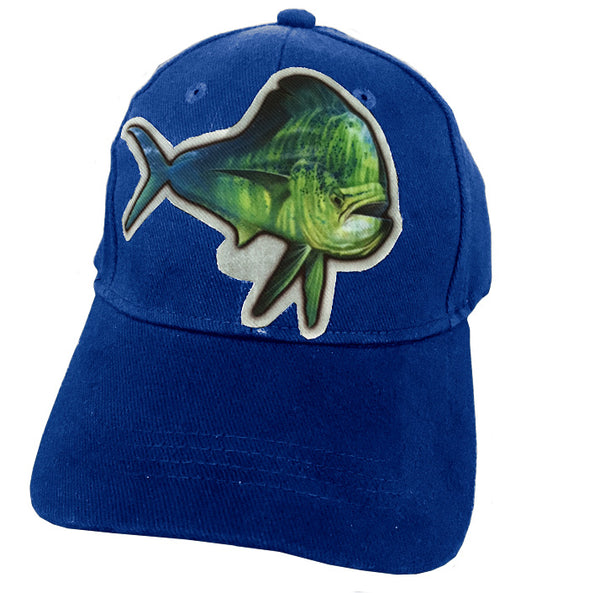 Blue cap with dorado artwork