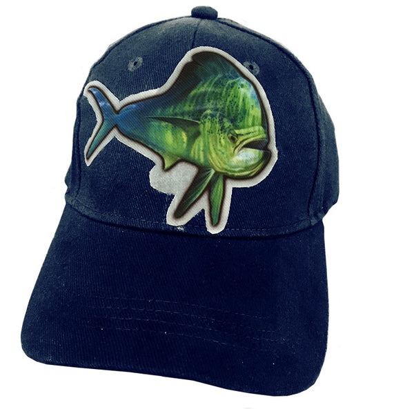 Navy cap with dorado artwork