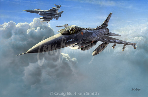 a painting of an F 16 fighting falcon flying above the clouds
