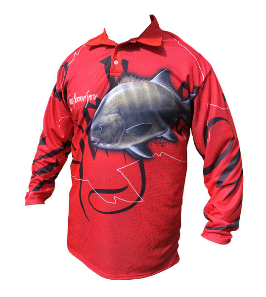 long sleeve fishing shirt with a galjoen image on it