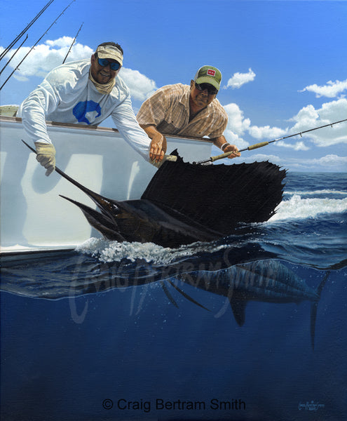 a painting of a fly fisherman holding a sailfish at the side of the boat