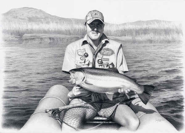 a pencil drawing of a fly fisherman holding a rainbow trout