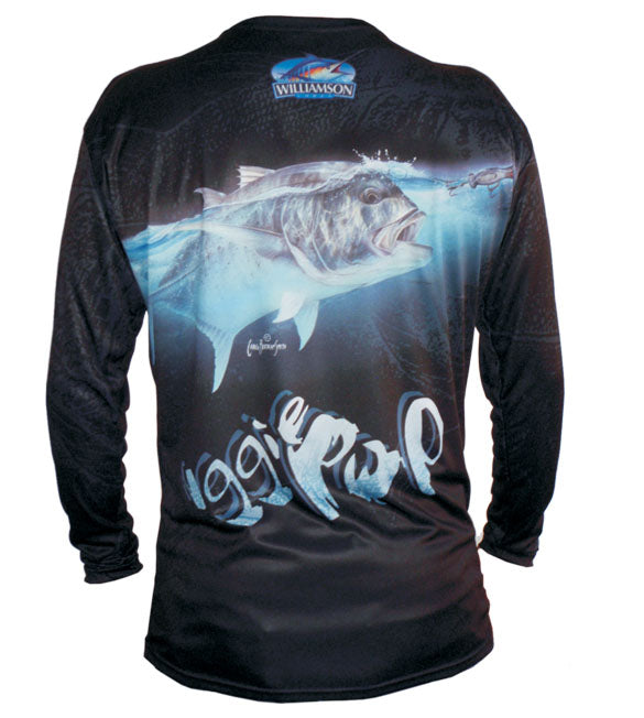 long sleeve black fishing shirt with a GT on it