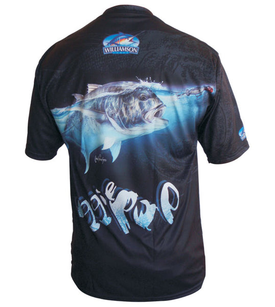 short sleeve black fishing shirt with a GT on it