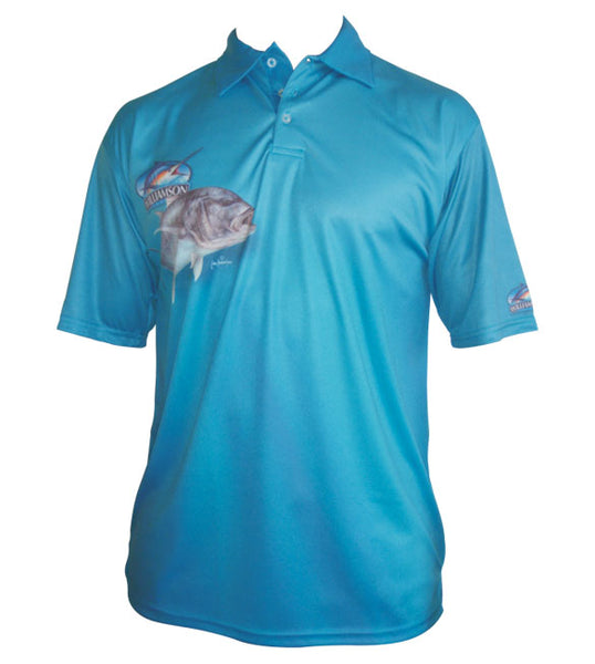 short sleeve blue fishing shirt with a GT on it