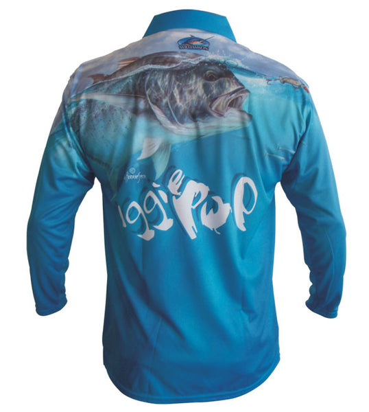 long sleeve blue fishing shirt with a GT on it