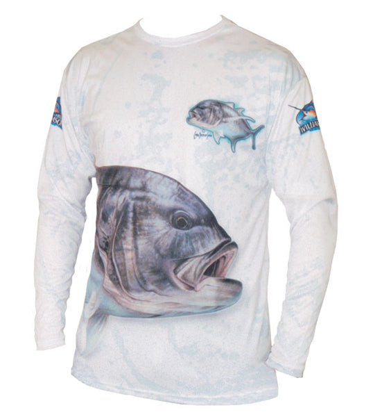 long sleeve fishing shirt with a GT on it