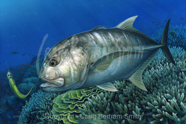 a painting of giant trevally over a coral reef