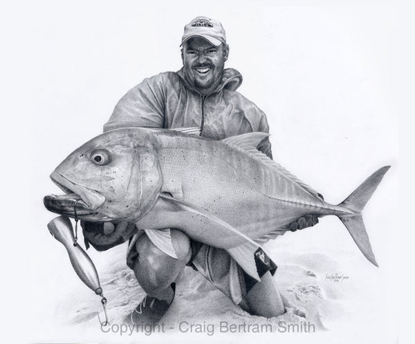 a pencil drawing of a fisherman holding a big GT fish