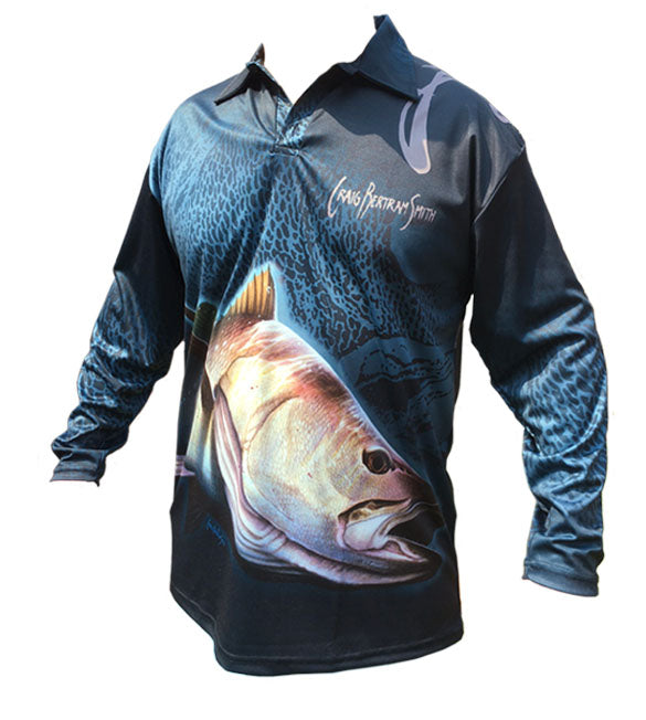 long sleeve fishing shirt with a kob image on it