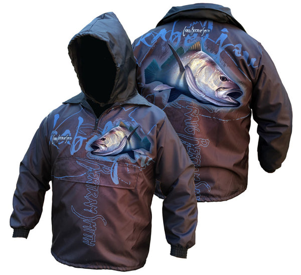 rain jacket with a kob image on it