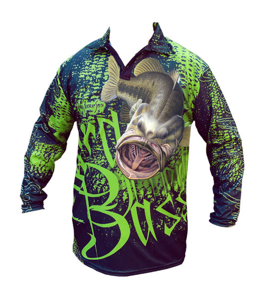 long sleeve black fishing shirt with a large mouth bass on it
