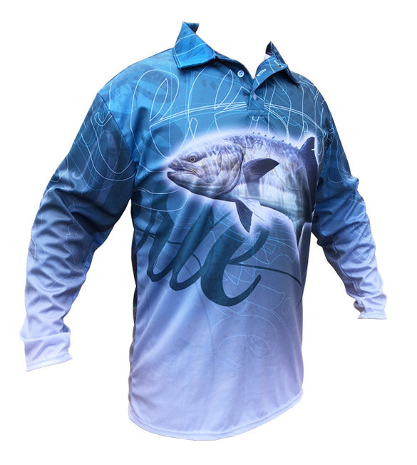 long sleeve fishing shirt with a leerie image on it