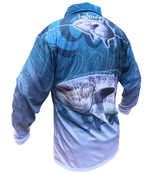 long sleeve fishing shirt with a garrick image on it