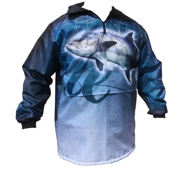 rain jacket with a garrick image on it
