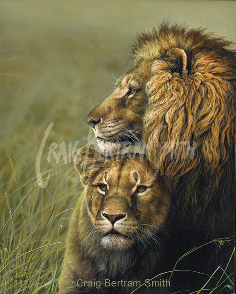 a painting of a male and female lion
