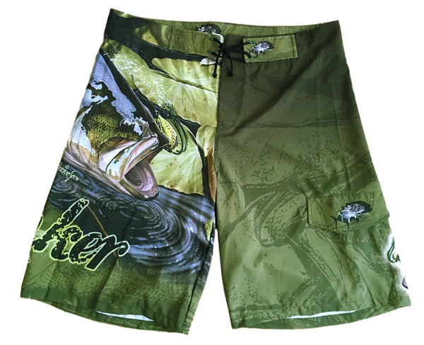 board shorts with a bass on it