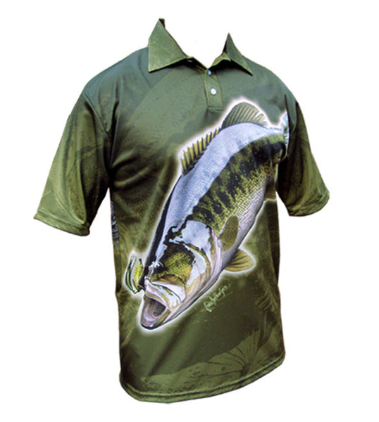 short sleeve fishing shirt with a bass on it