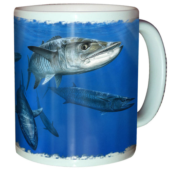 coffee mug with a mackerel printed on it
