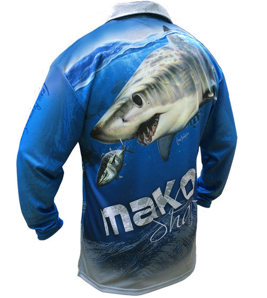 long sleeve black fishing shirt with a mako shark on it