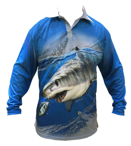 long sleeve fishing shirt with a shark image on it