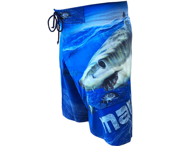 board shorts with a mako shark on it