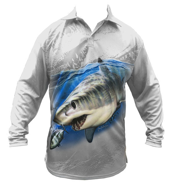 long sleeve fishing shirt with a mako shark on it