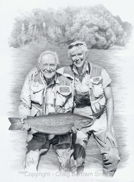 a drawing of a fly fisherman with his trophy brown trout