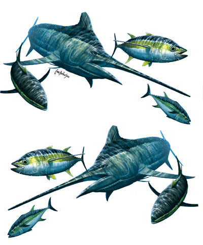 Marlin and tuna sticker or decal