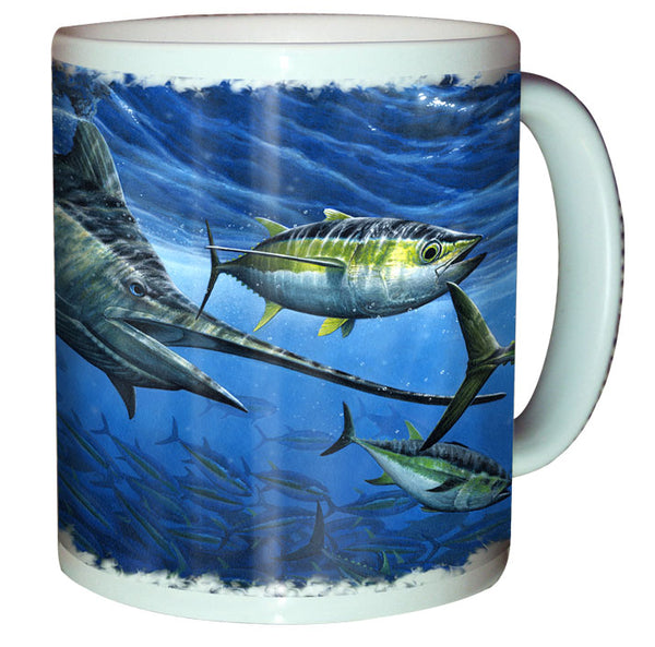 coffee mug with a marlin printed on it