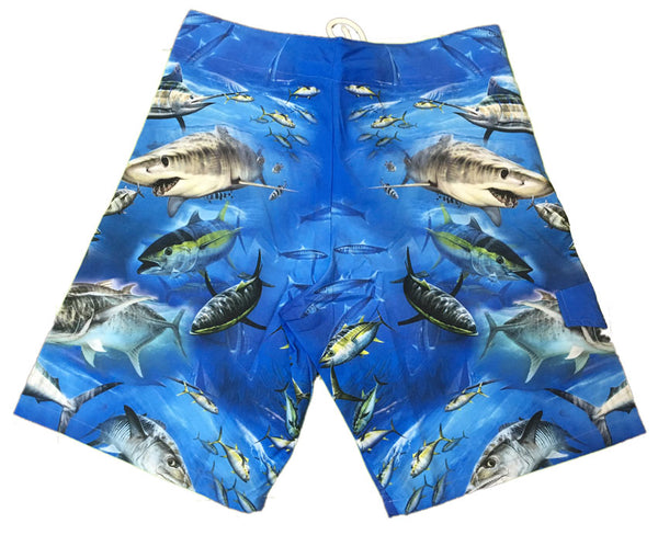 board shorts with a game fish on it