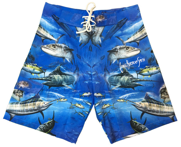 board shorts with a fish on it