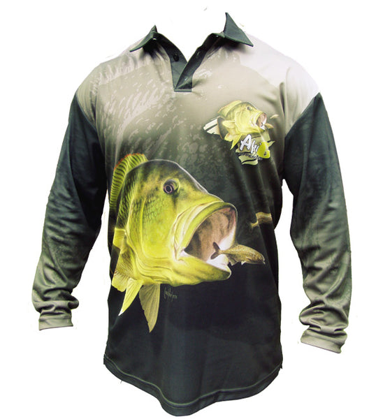 long sleeve fishing shirt with a nembwe image on it