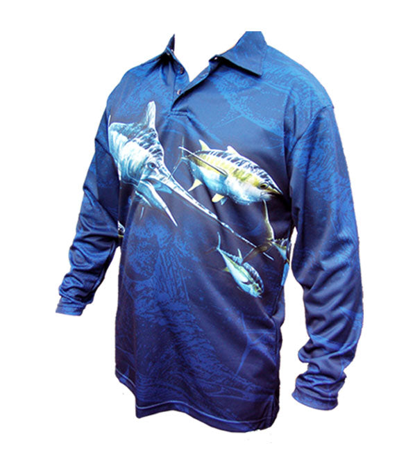long sleeve shirt with a marlin image on it