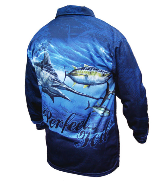 long sleeve fishing shirt with a marlin image on it