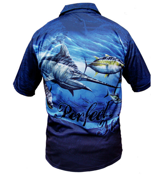 short sleeve fishing shirt with a marlin on it