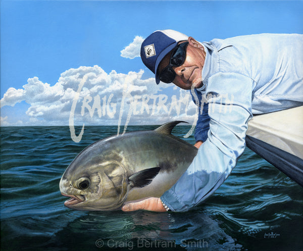 a painting of a fisherman holding a permit fish