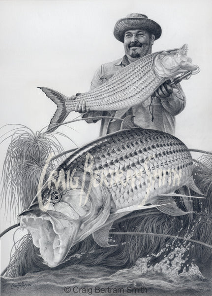 a pencil drawing of a tigerfish jumping with a fisherman holding a fish in the background
