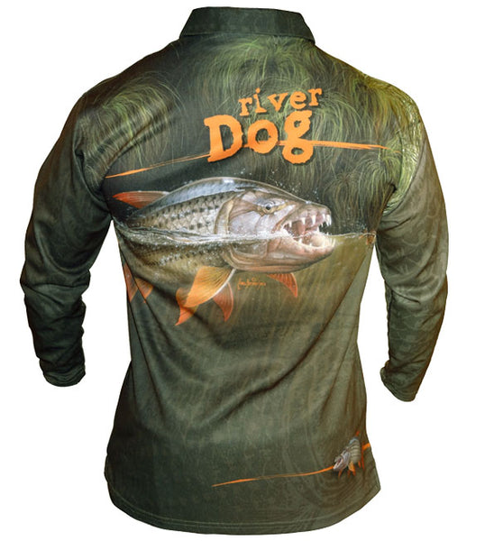 long sleeve black fishing shirt with a tigerfish on it