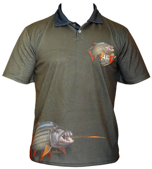 short sleeve black fishing shirt with a tigerfish on it