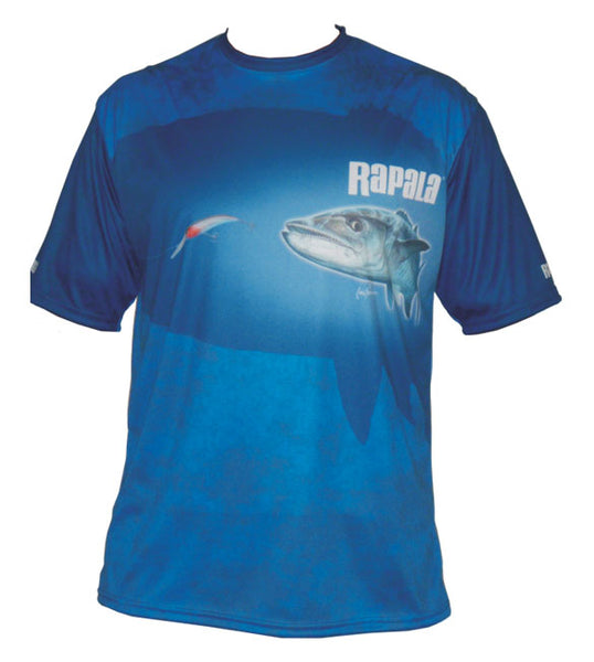 Short sleeve fishing shirt with a mackerel on it
