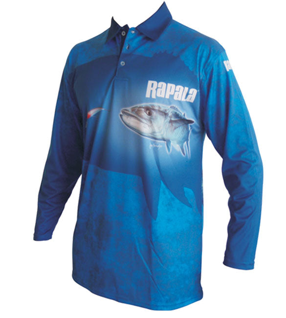 long sleeve fishing shirt with a mackerel on it