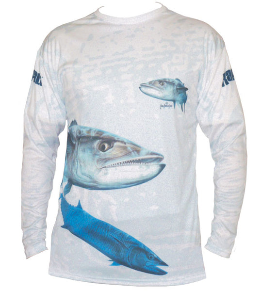 long sleeve black fishing shirt with a mackerel on it