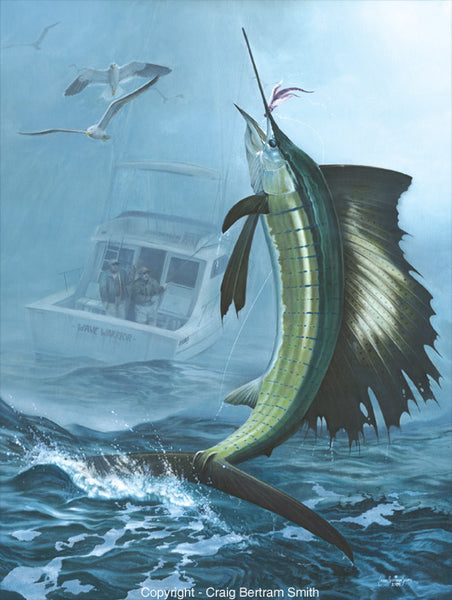 a painting of a sailfish jumping out of the water and a boat in the background