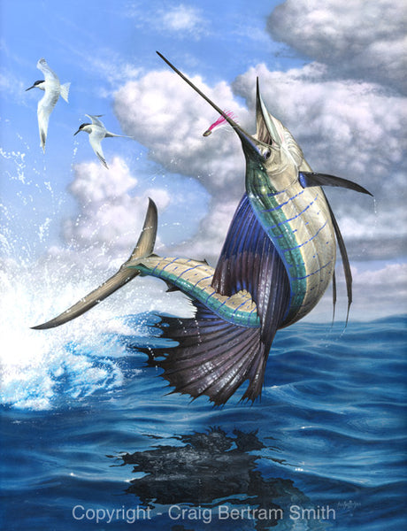 a painting of a sailfish jumping out of the water
