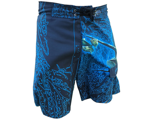 board shorts with a sailfish on it
