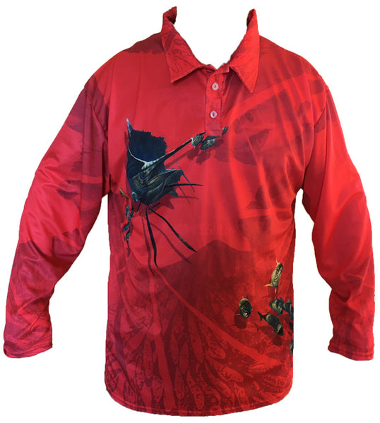 Sailfish Golf Long Sleeve Shirt (Red)
