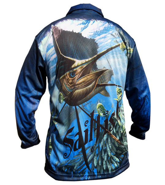 long sleeve fishing shirt with a sailfish image on it